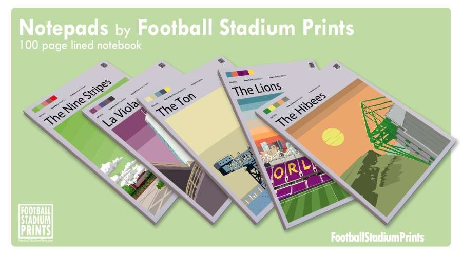 Football Print notebooks by Football Stadium Prints