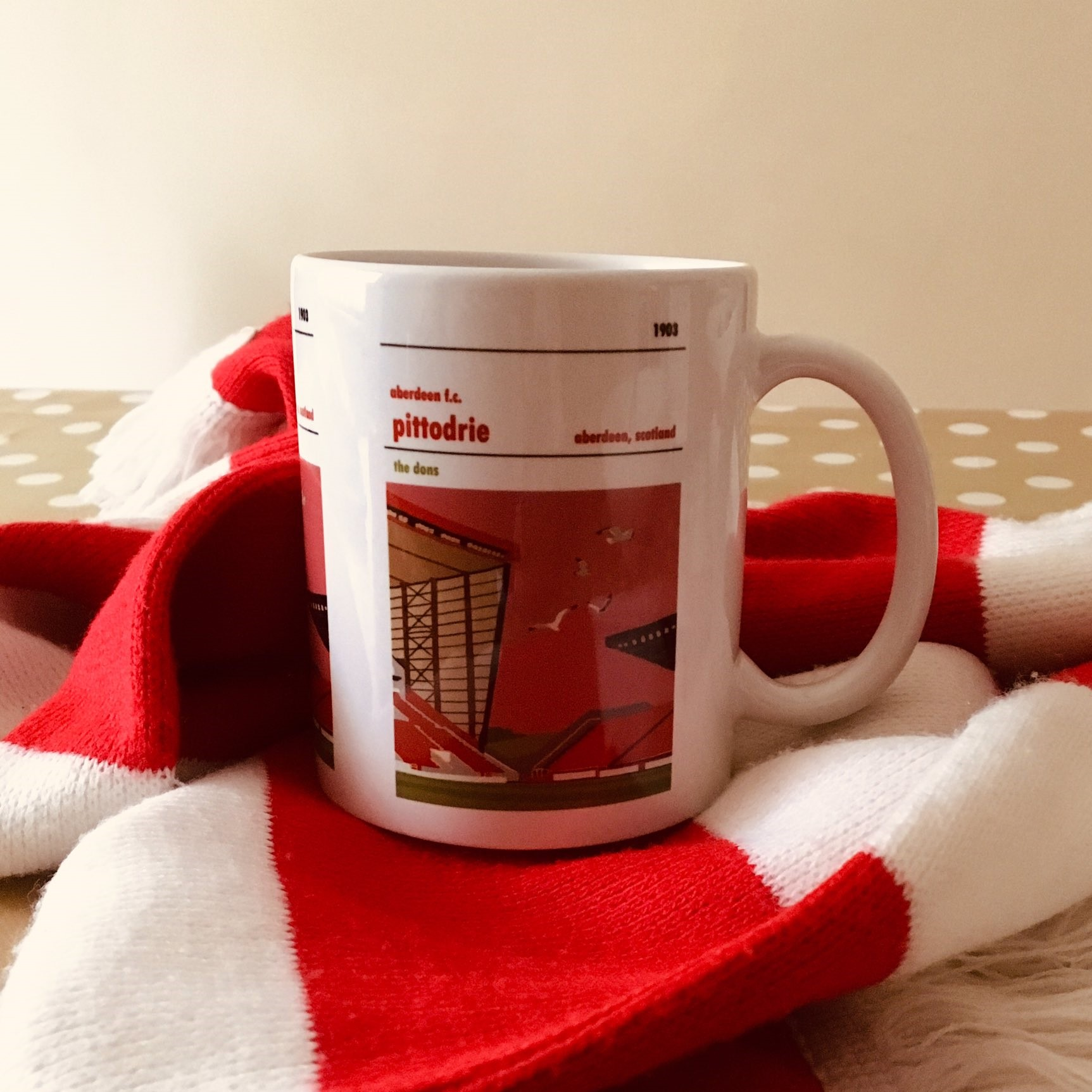 Football Mug of Pittodrie, home to Aberdeen FC