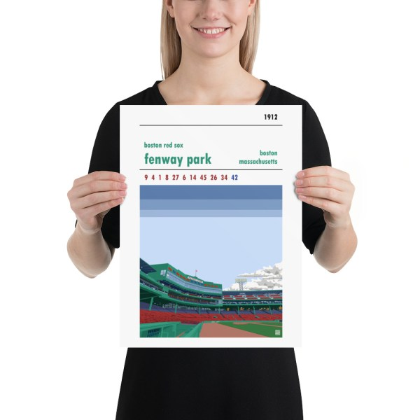 Baseball poster of Fenway Park and Boston Red Sox