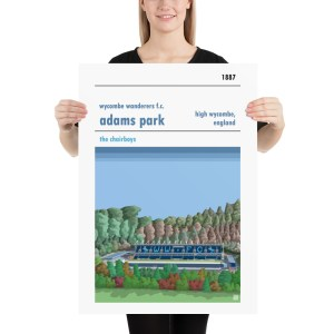 Large football poster of Wycombe Wanderers and Adams Park