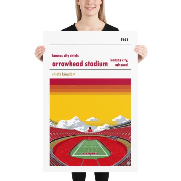Huge Arrowhead Stadium and Kansas City Chiefs FC Football poster