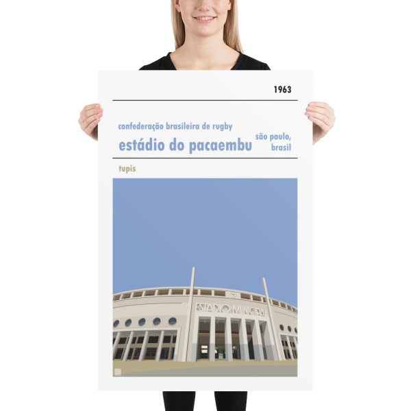 Huge rugby poster of Estadio do Pacaembu and Brazilian Rugby