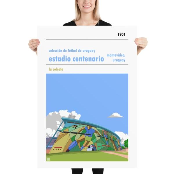 Massive football poster of Estadio Centenario and Uruguay national football team
