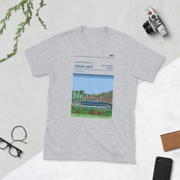Grey Wycombe Wanderers and Adams Park t-shirt