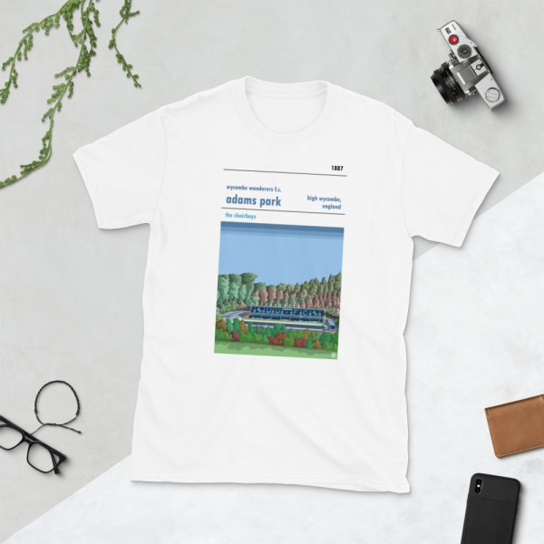 White Wycombe Wanderers and Adams Park t-shirt