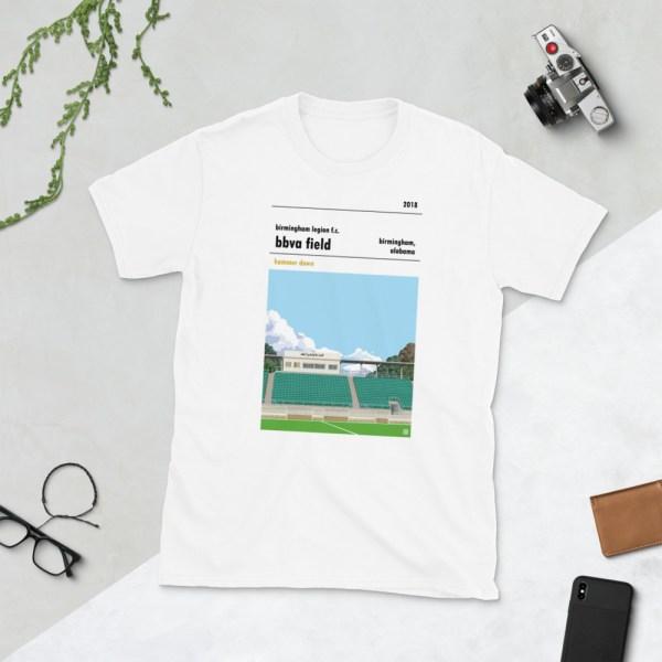 White Birmingham Legion and BBVA Field t-shirt