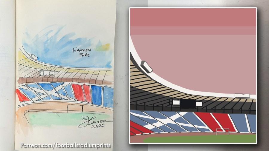 Original Sketch of HAmpden PArk by Football Stadium Prints