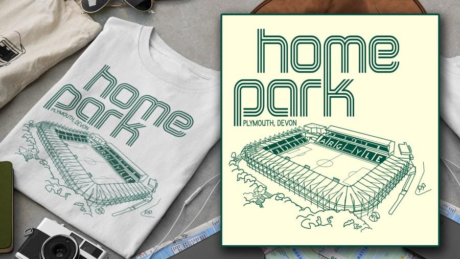 Home Park and Plymouth Argyle Fine Line Design T-shirt