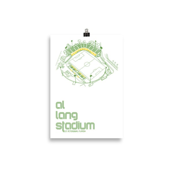 Small white Al Lang Stadium and Tampa Bay Rowdies Soccer Poster