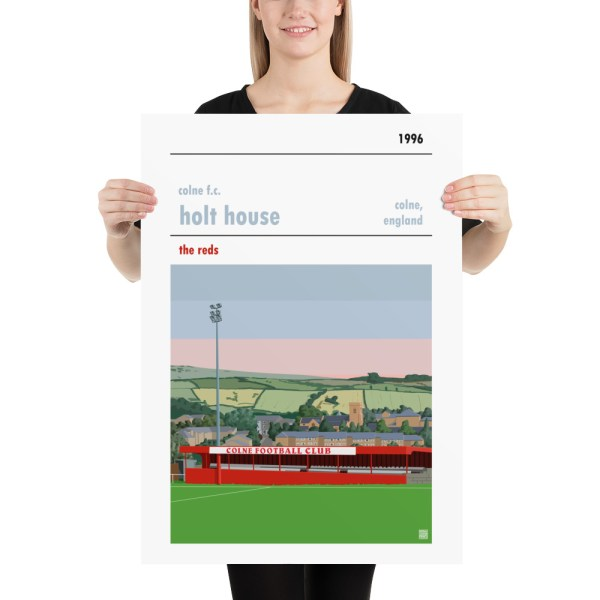 Large football poster of Colne FC and Holt House