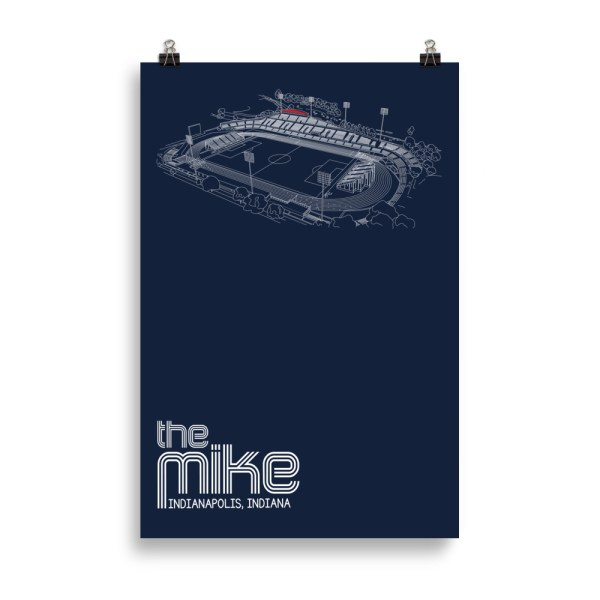 Huge navy Indy Eleven poster of the Mike