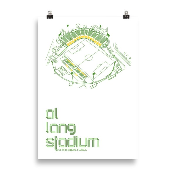 Massive white Al Lang Stadium and Tampa Bay Rowdies Soccer Poster