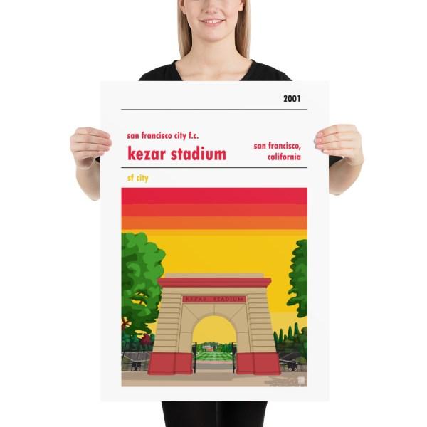 Large San Francisco City and Kezar Stadium soccer Poster