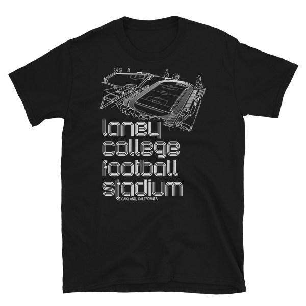 Black Oakland Roots SC and Laney College Football stadium T-Shirt
