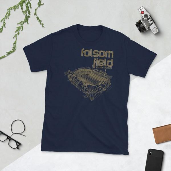 Navy Folsom Field and Colorado Buffaloes T-Shirt