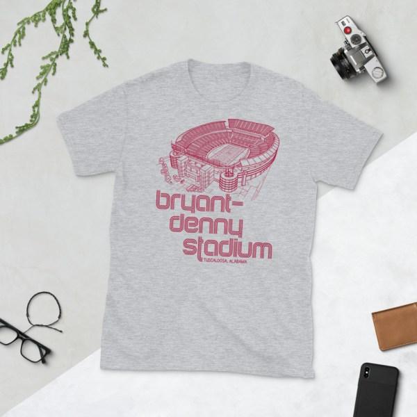 Gray Bryant-Denny Stadium and Alabama Crimson Tide T-Shirt