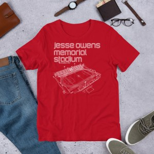 Red Jesse Owens Memorial Stadium and Ohio State Soccer T-Shirt
