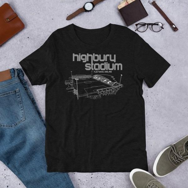 Black Fleetwood Town and Highbury Stadium T-Shirt