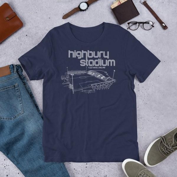 Navy Fleetwood Town and Highbury Stadium T-Shirt