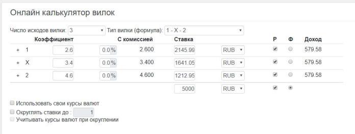 Онлайн калькулятор для ставок на вилки