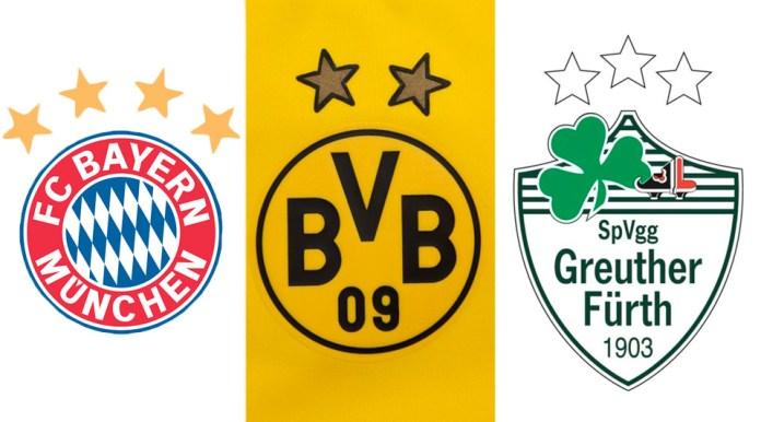 Эмблемы немецких футбольных клубов со звездами