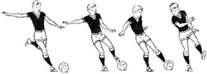 Правильное положение корпуса при ударе по мячу в футболе
