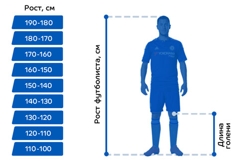 Выбор футбольных щитков по росту