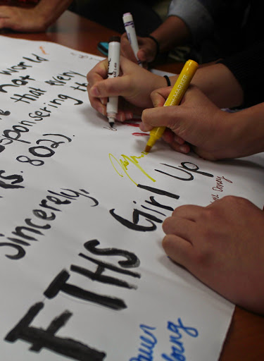 After the speech, students signed a petition in support of the Girls Count Act. Credit: Carrie Coonan/The Foothill Dragon Press