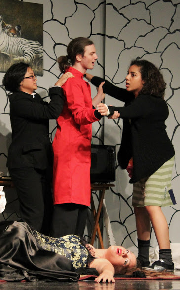 "Senior Kevin Holland starred as Dr. Evil in the Foothill Drama Club's performance of ""Dr. Evil and the Basket of Kittens."""