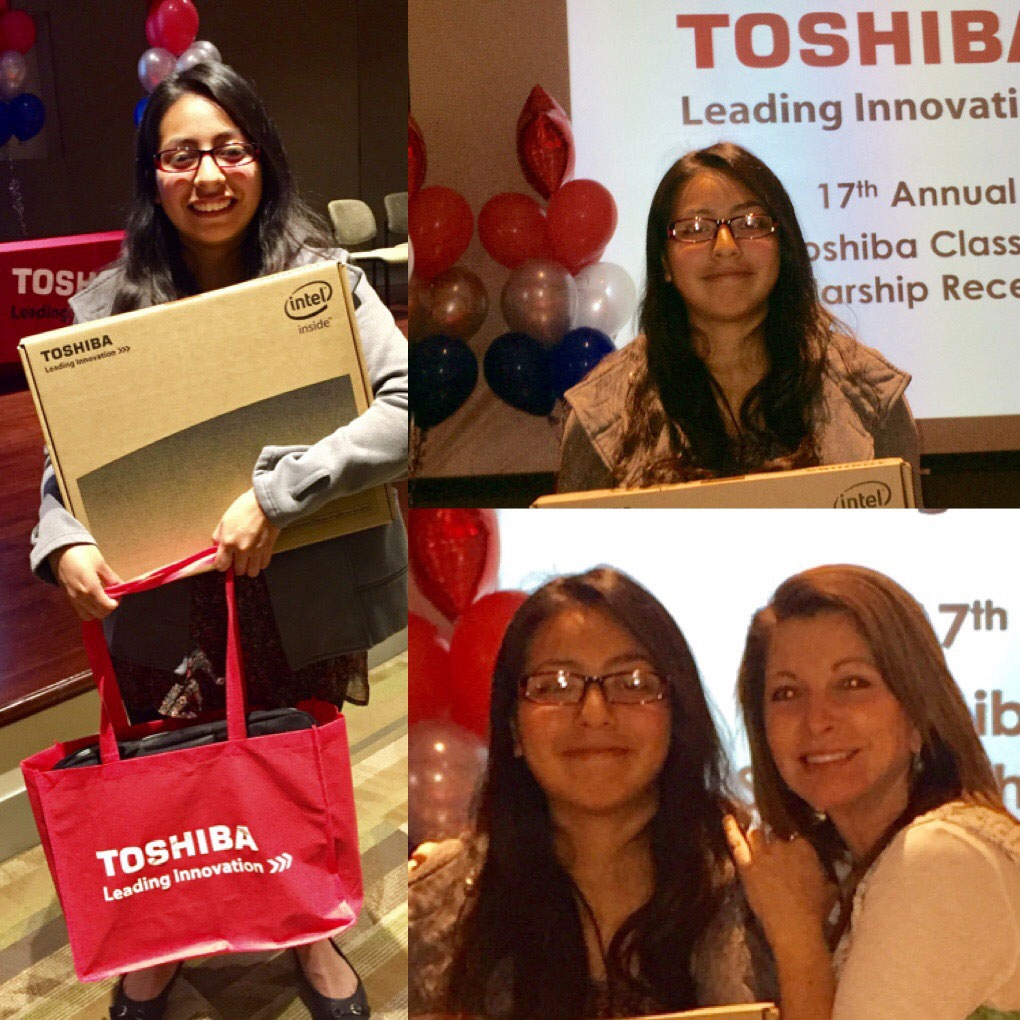 Sitlaly Avelino was awarded a brand new computer and scholarship from the Toshiba Corporation
