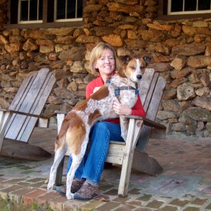 Allison and formally shy dog Millicent on a successful outing