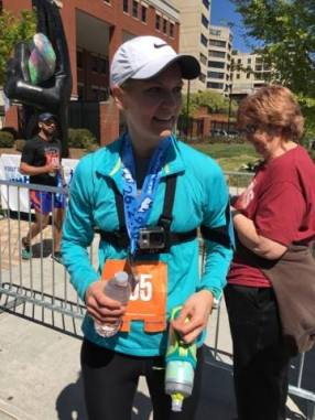 Abby Oliver after finishing the race!