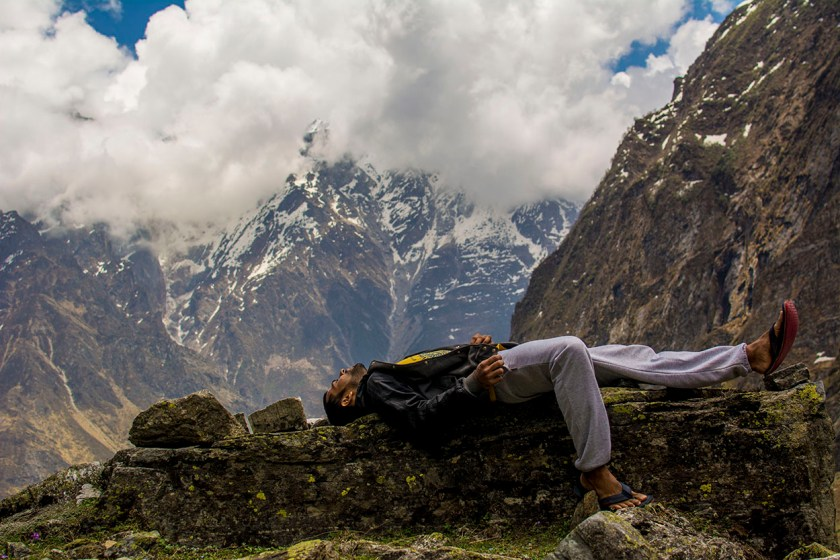 lying down under mountains