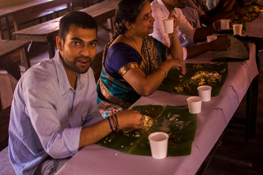 eating banana leaf