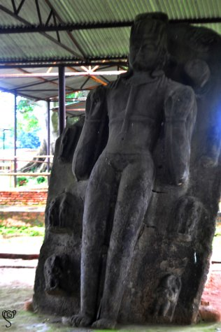 The excavated Surya sculpture at Thakurani Tila, Pilak