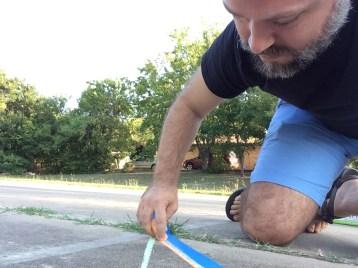 Eric chalking 45-degree triangle