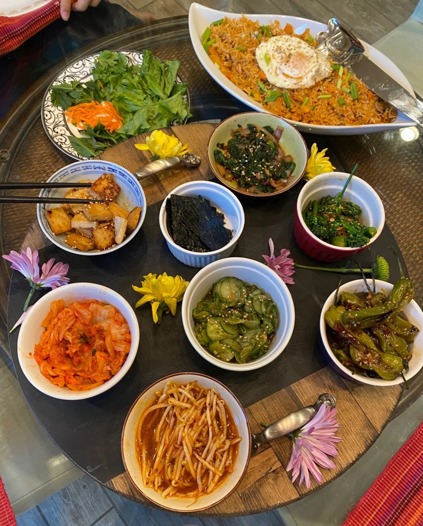 Korean Kimchi Fried Rice & Sides