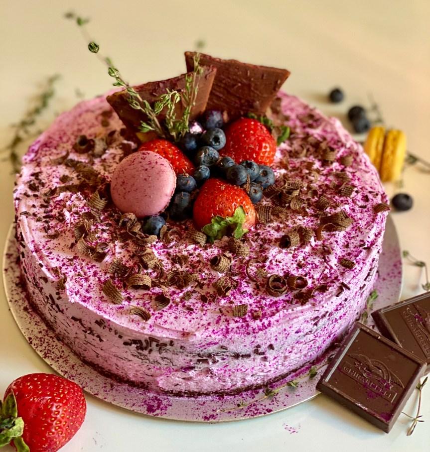 Chocolate Chiffon Pitaya Cake