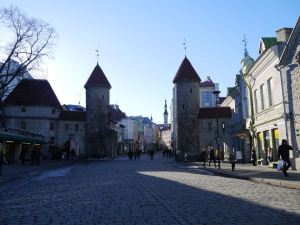 Entering into the Old City Walls of Tallinn in Estonia..