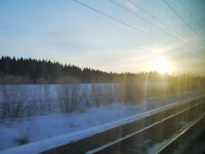 Sunrise from the train window on the train from Helsinki to St Petersburg..