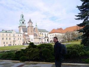 Dad in front of Krakow Castle..