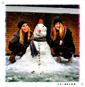 Snowman making at the Trafalgar Arms.!