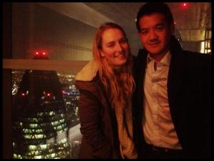 Naz and I at Duck & Waffle - 42 floors above London!