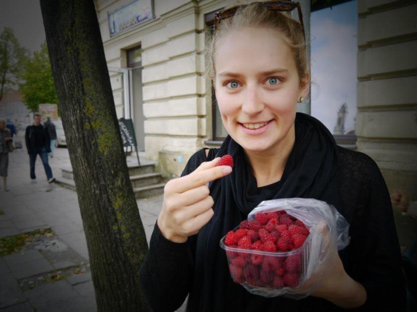 Mmmm fresh raspberries from the markets in Vilnius..