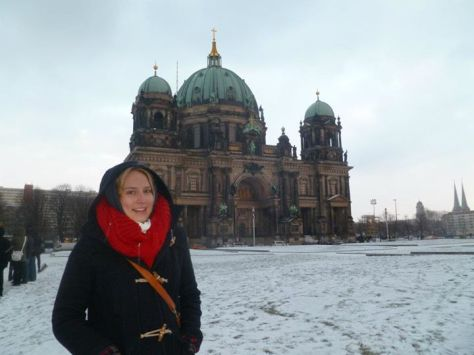 On Mesuem Island during the walking tour -  freezing cold!