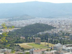 View from the top of the Acropolis to the Temple of Olympian Zeus..