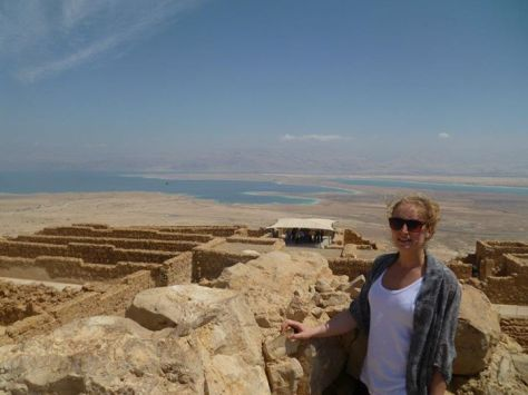 At the top of the Masada ruins overlooking the amazing Dead Sea..