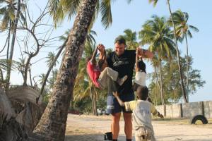 Walking through the villages on teh east coast of Zanzibar and playing with the children..  Such happy laughter..