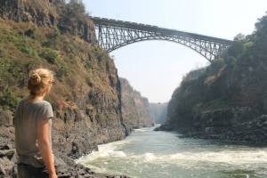 Victoria Falls Bridge where we bungee jumped off of.!