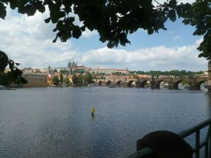 The Charles Bridge over the Vltava River..